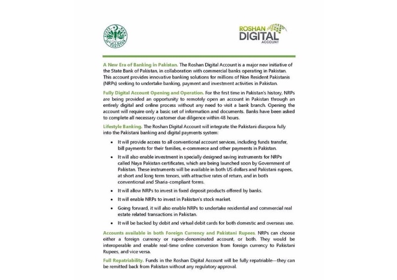 Launch of 'Roshan Digital Account' for Overseas Pakistanis