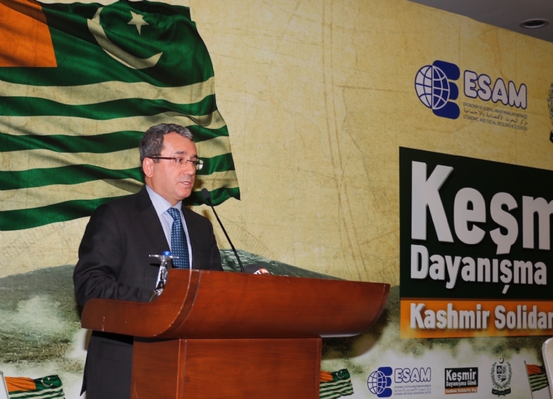 Deputy Foreign Minister of Turkey Mr. Ahmet Yildiz during his address at Kashmir Solidarity Day seminar