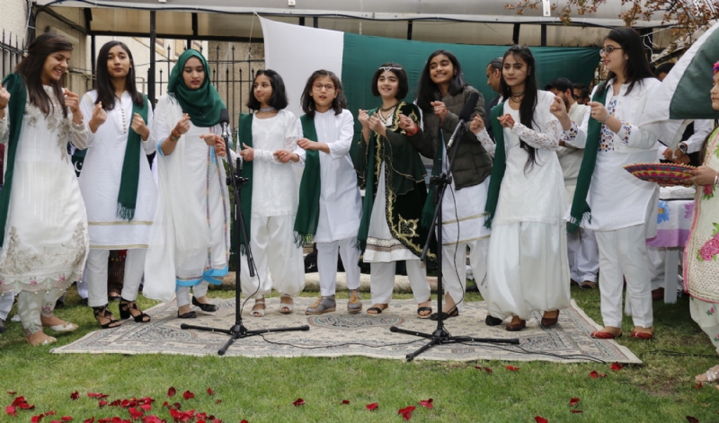 Pakistan Embassy students performing during flag-hoisting ceremony