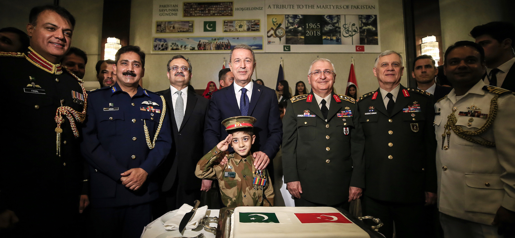 Cake cutting ceremony to mark Defence Day of Pakistan in Ankara on 6 September 2018.
